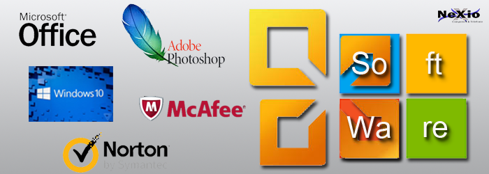 Diverse afbeeldingen van Software programma's, zoals Windows, McAfee en Microsoft Office